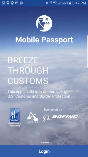 Mobile Passport Login screenshot