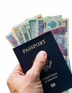 passport and various currency